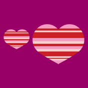 heart stripes pink and red