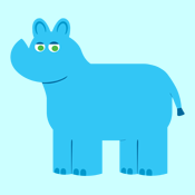Blue Cartoon Rhino T-Shirts and Gifts