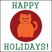 Happy Holidays Cute Christmas Kitty Cat